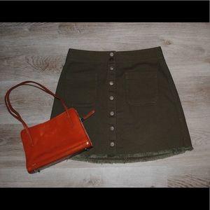 Army Green Denim Madewell Snap Button Skirt